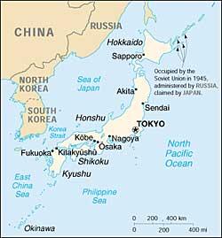 La Cartina Del Giappone.Territorio Giapponese Isole Ed Estensione Territoriale